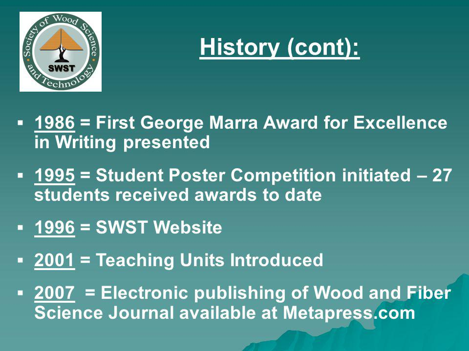 1986 = First George Marra Award for Excellence in Writing presented 1995 = Student Poster Competition initiated – 27 students received awards to date