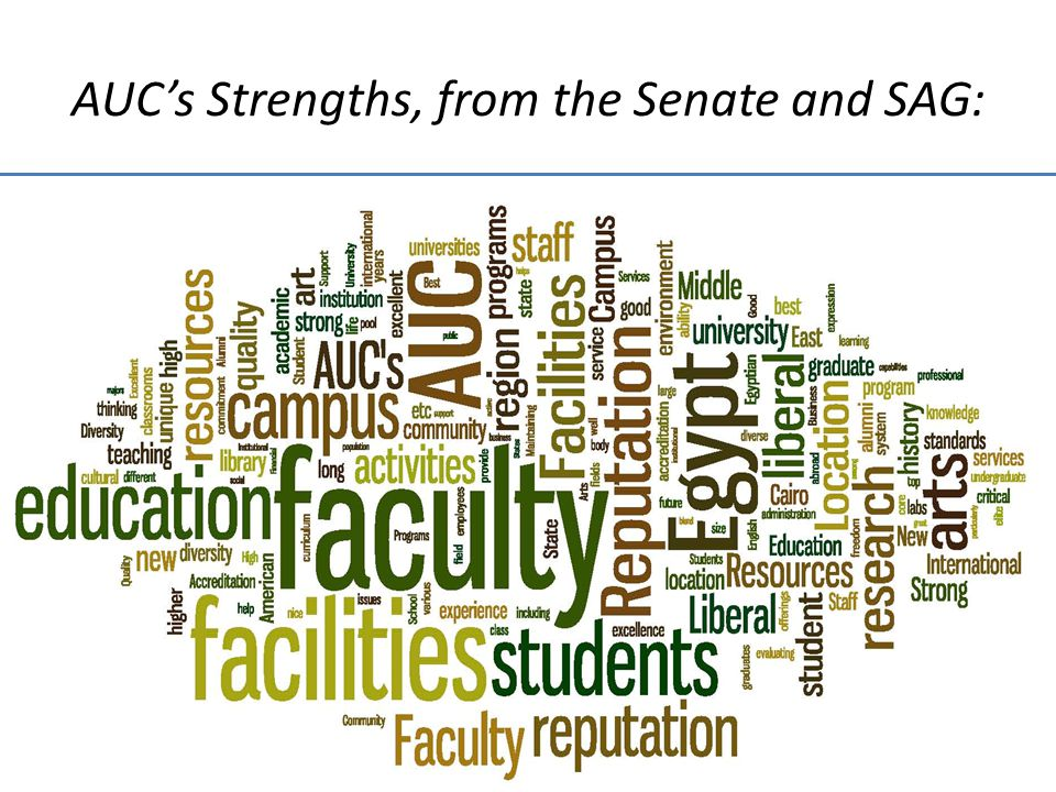 AUCs Strengths, from the Senate and SAG: