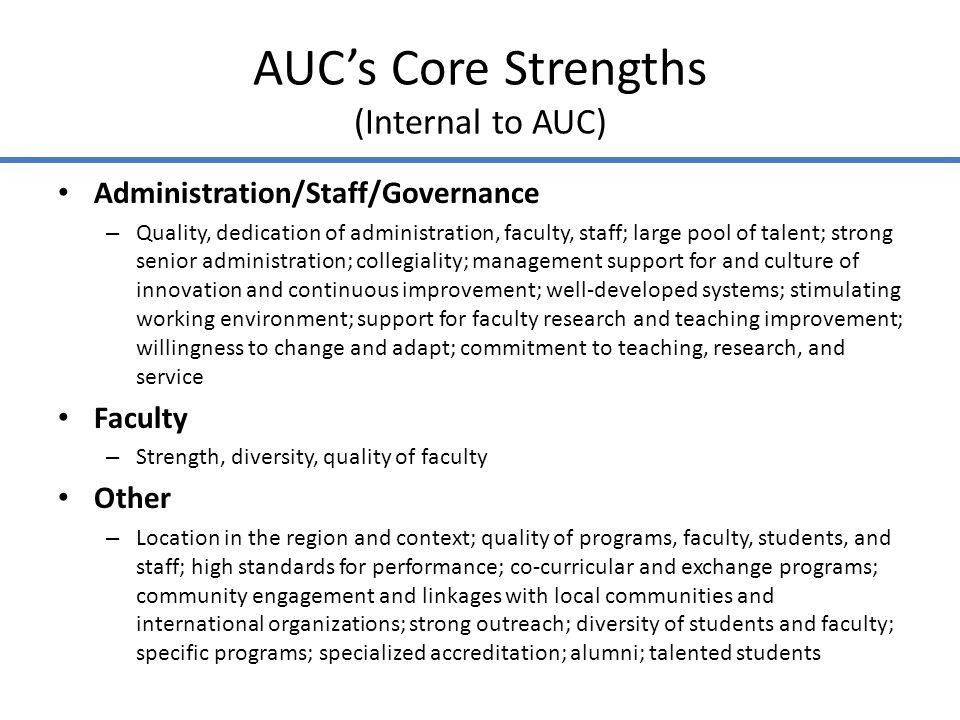 AUCs Core Strengths (Internal to AUC)