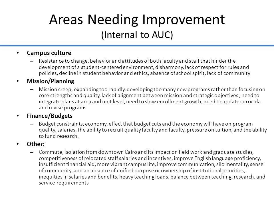 Areas Needing Improvement (Internal to AUC)