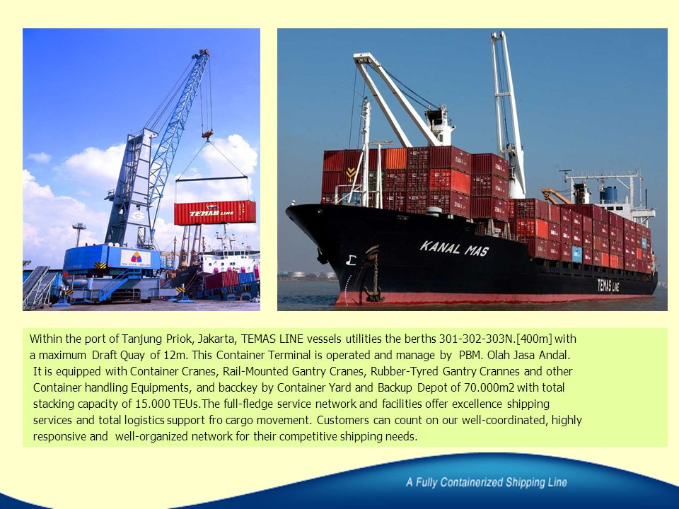 Within the port of Tanjung Priok, Jakarta, TEMAS LINE vessels utilities the berths 301-302-303N.[400m] with a maximum Draft Quay of 12m. This Containe