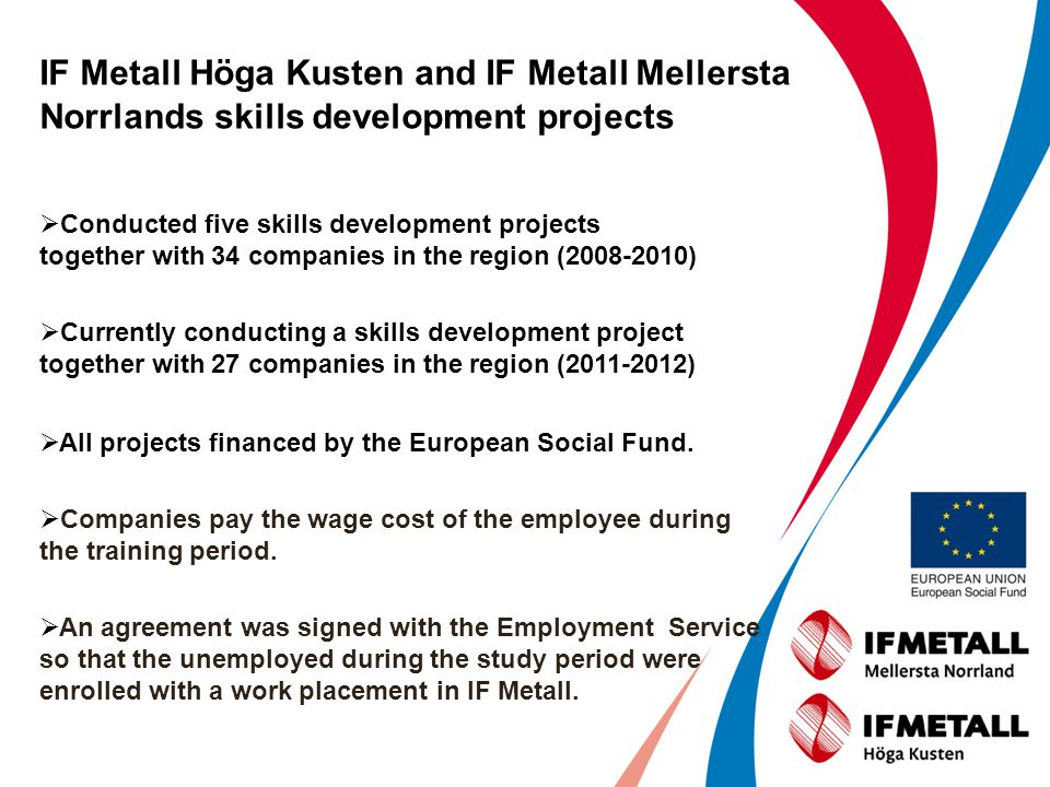 IF Metall Höga Kusten and IF Metall Mellersta Norrlands skills development projects Conducted five skills development projects together with 34 compan