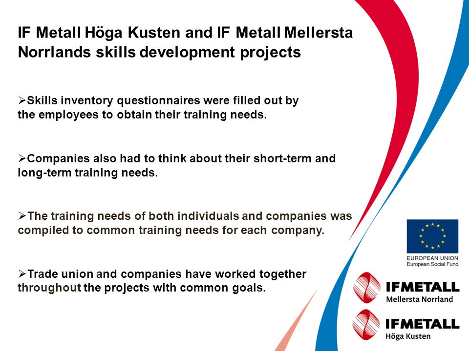 IF Metall Höga Kusten and IF Metall Mellersta Norrlands skills development projects Skills inventory questionnaires were filled out by the employees to obtain their training needs.