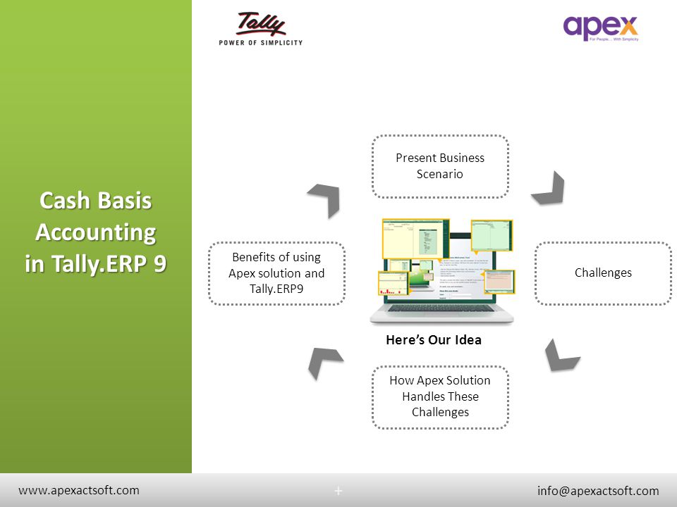 Business Scenario +BusinessScenario + Important professionals like you use Cash Basis Accounting You also use Tally.ERP 9 for business You need a system to maintain Cash Basis Accounting in Tally.ERP 9 You want the system to follow all statutory and practical needs www.apexactsoft.com info@apexactsoft.com