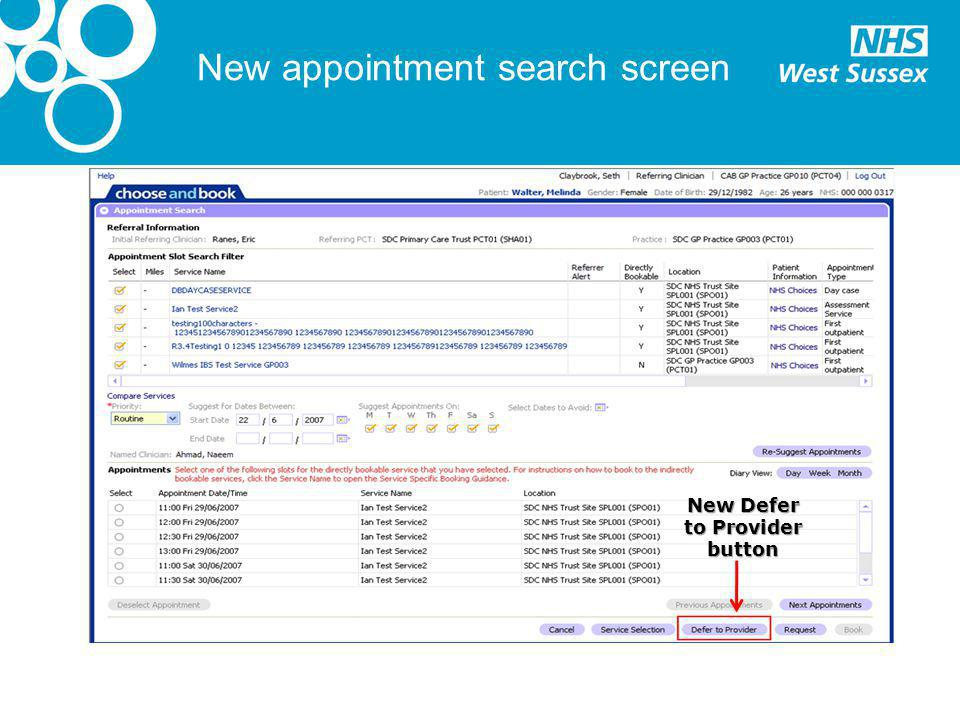 New appointment search screen New Defer to Provider button