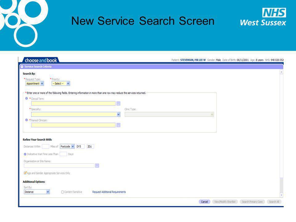 New Service Search Screen