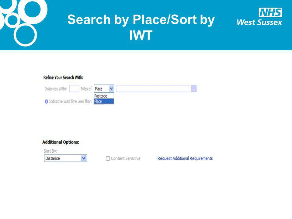 Search by Place/Sort by IWT