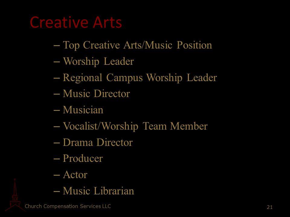 Church Compensation Services LLC 21 Creative Arts – Top Creative Arts/Music Position – Worship Leader – Regional Campus Worship Leader – Music Directo