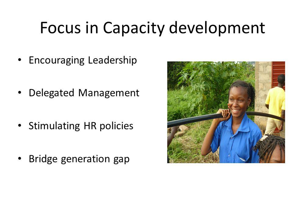 Focus in Capacity development Encouraging Leadership Delegated Management Stimulating HR policies Bridge generation gap
