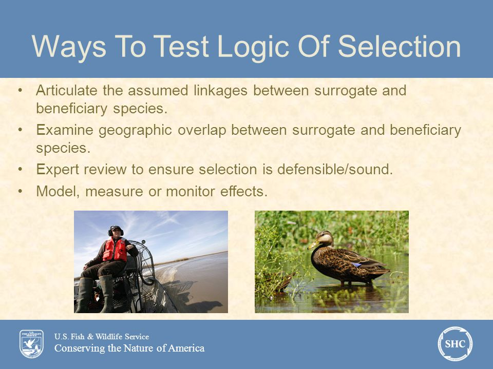 U.S. Fish & Wildlife Service Conserving the Nature of America Ways To Test Logic Of Selection Articulate the assumed linkages between surrogate and be