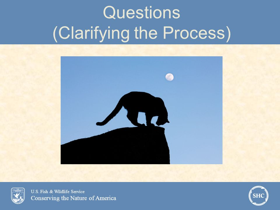 U.S. Fish & Wildlife Service Conserving the Nature of America Questions (Clarifying the Process)