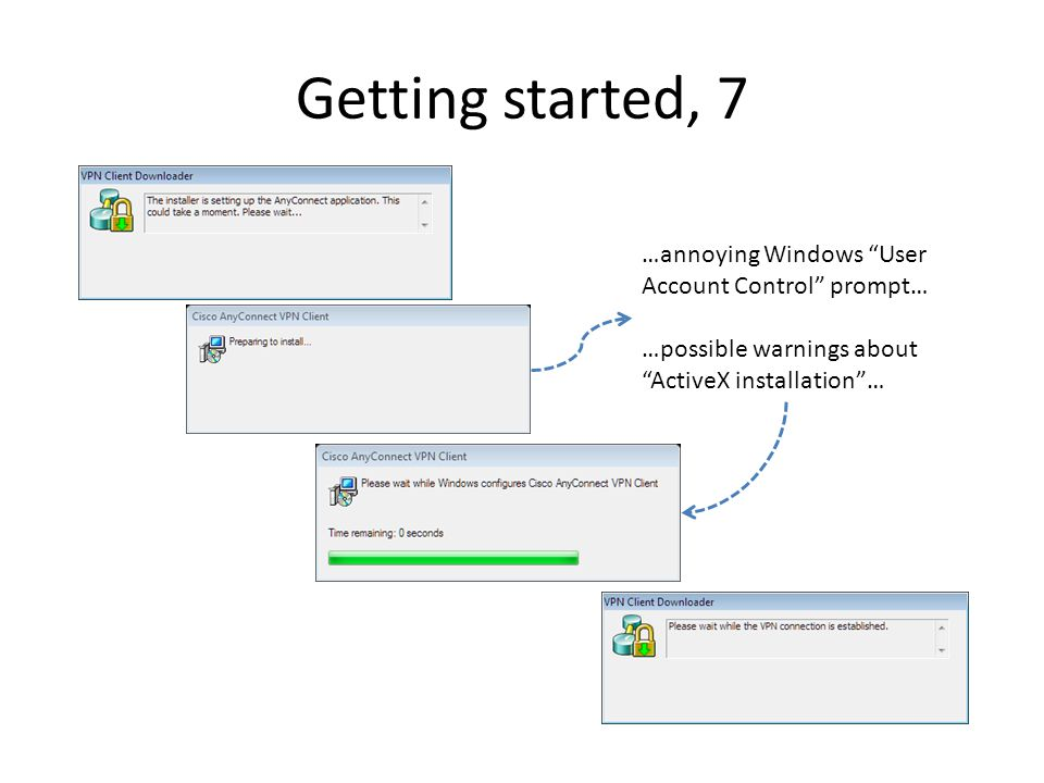 Getting started, 7 …annoying Windows User Account Control prompt… …possible warnings about ActiveX installation…