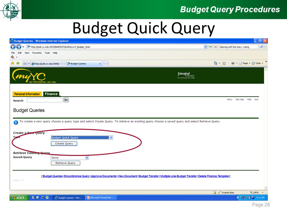 Budget Quick Query Budget Query Procedures Page 28