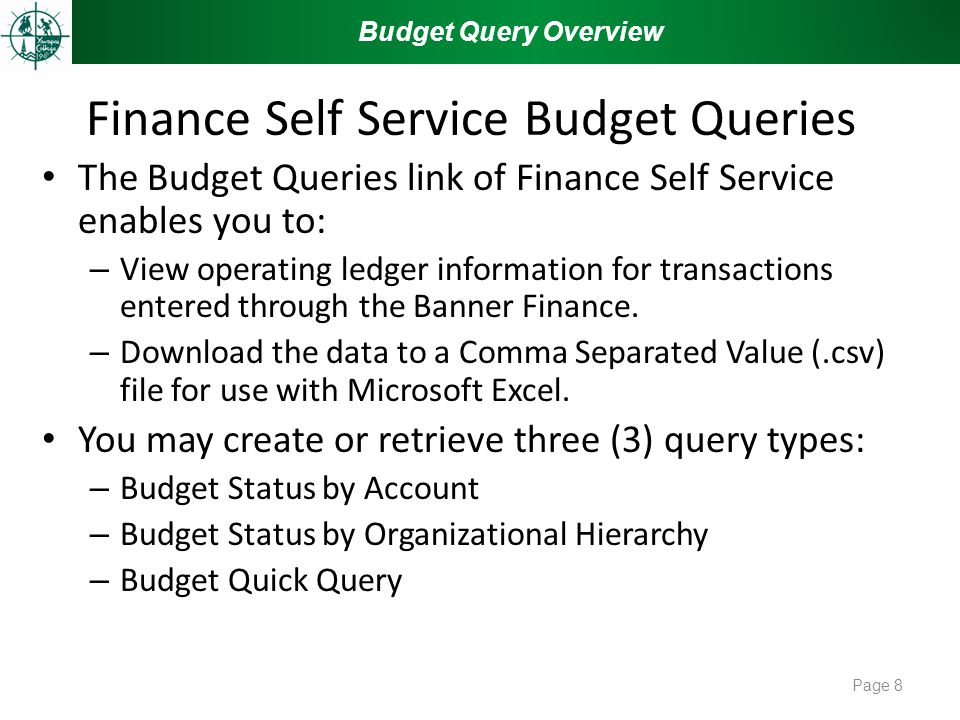 Finance Self Service Budget Queries The Budget Queries link of Finance Self Service enables you to: – View operating ledger information for transactions entered through the Banner Finance.
