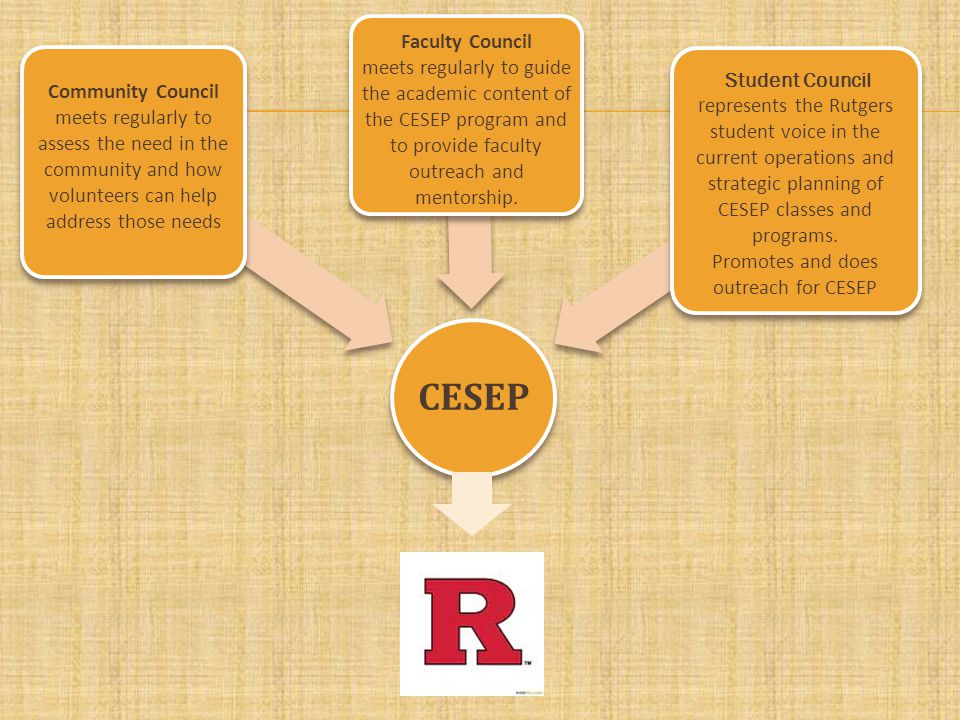 CESEP Community Council meets regularly to assess the need in the community and how volunteers can help address those needs Faculty Council meets regularly to guide the academic content of the CESEP program and to provide faculty outreach and mentorship.