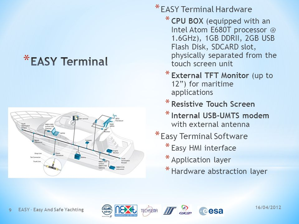 * EASY Terminal Hardware * CPU BOX (equipped with an Intel Atom E680T processor @ 1.6GHz), 1GB DDRII, 2GB USB Flash Disk, SDCARD slot, physically separated from the touch screen unit * External TFT Monitor (up to 12) for maritime applications * Resistive Touch Screen * Internal USB-UMTS modem with external antenna * Easy Terminal Software * Easy HMI interface * Application layer * Hardware abstraction layer 16/04/2012 EASY – Easy And Safe Yachting 9