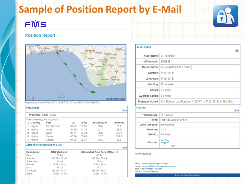 Sample of Position Report by E-Mail