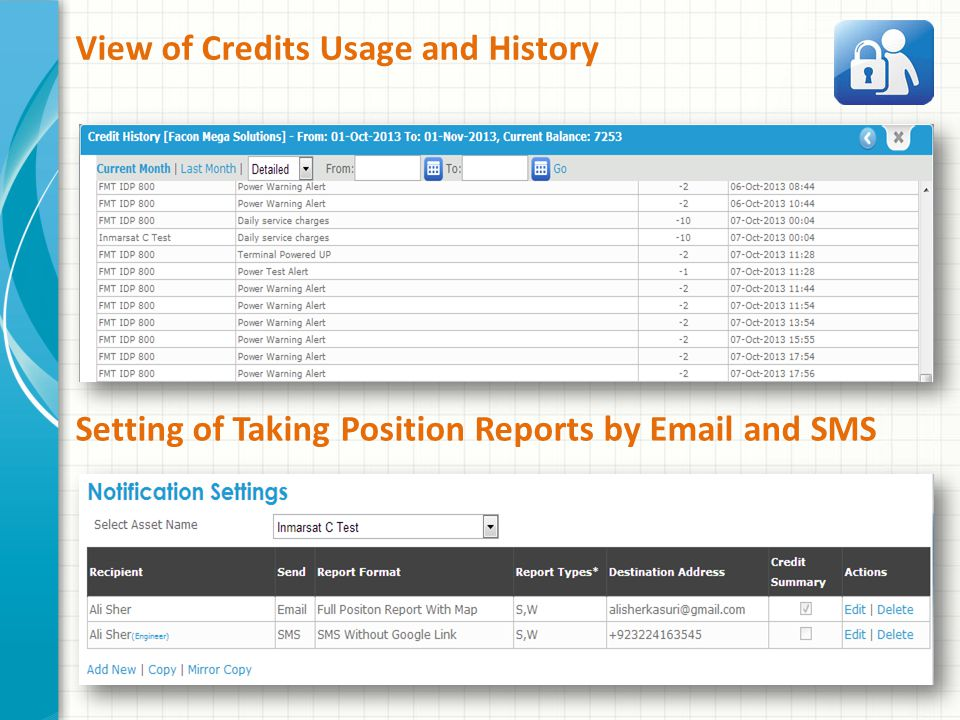 View of Credits Usage and History Setting of Taking Position Reports by Email and SMS