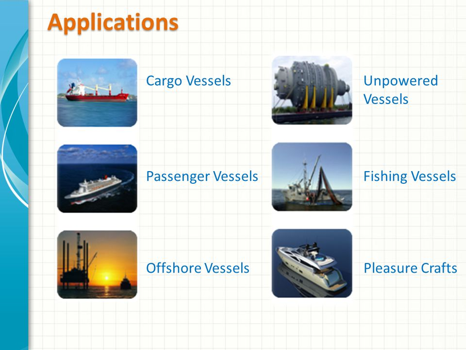 Applications Cargo Vessels Passenger Vessels Offshore Vessels Unpowered Vessels Fishing Vessels Pleasure Crafts