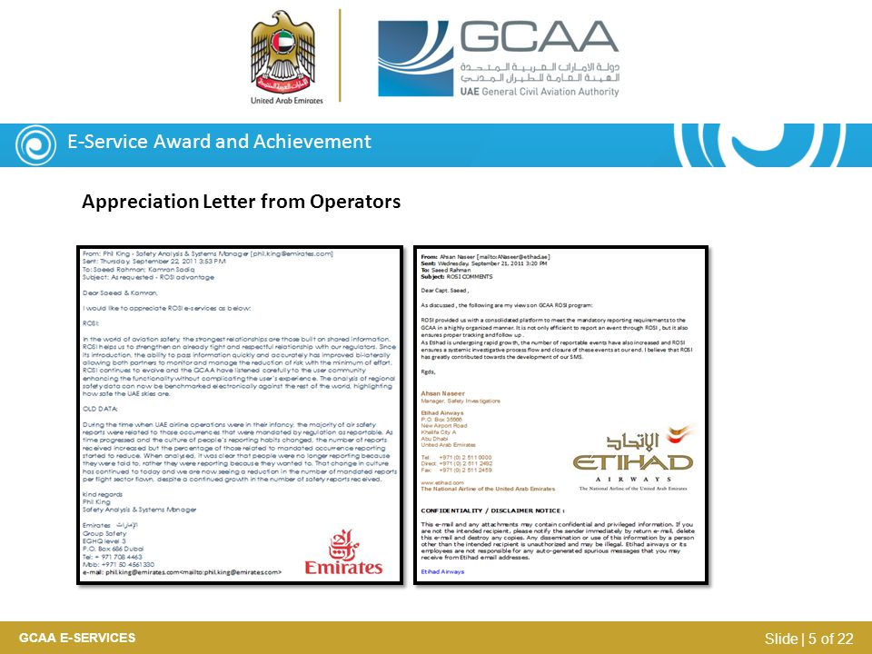 E-Service Award and Achievement Appreciation Letter from Operators GCAA E-SERVICES Slide | 5 of 22