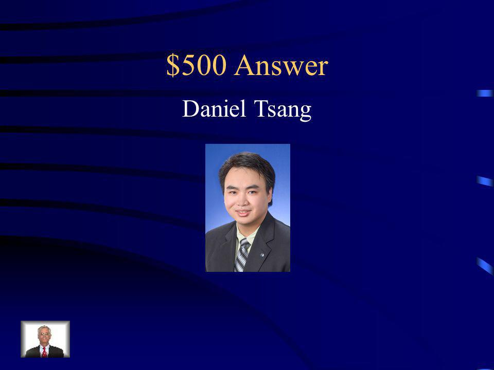 $500 Question He is the current International President of Circle K International from Loyola University of Chicago.