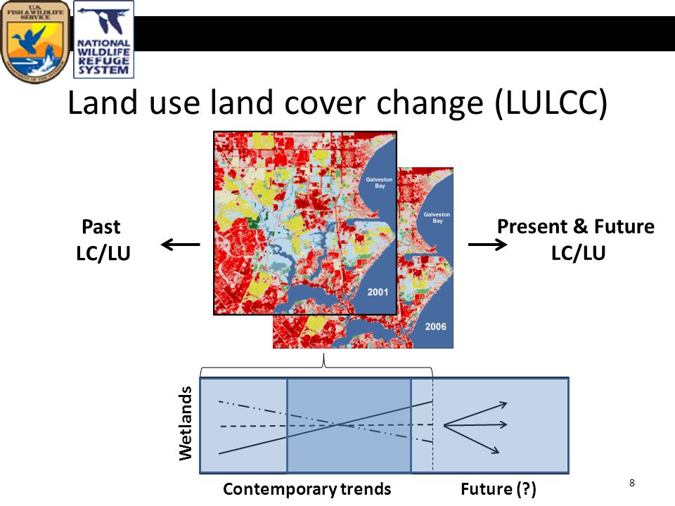 Land use land cover change (LULCC) U.S. Fish & Wildlife Service Past LC/LU Present & Future LC/LU 8 Wetlands Contemporary trends Future (?)