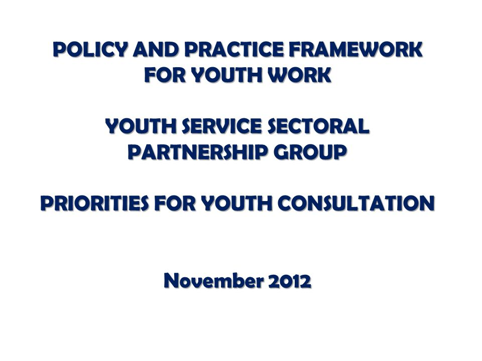 POLICY AND PRACTICE FRAMEWORK FOR YOUTH WORK YOUTH SERVICE SECTORAL PARTNERSHIP GROUP PRIORITIES FOR YOUTH CONSULTATION November 2012