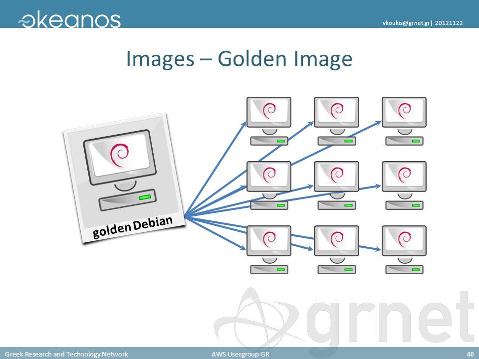 Greek Research and Technology NetworkAWS Usergroup GR40 vkoukis@grnet.gr| 20121122 Images – Golden Image golden Debian