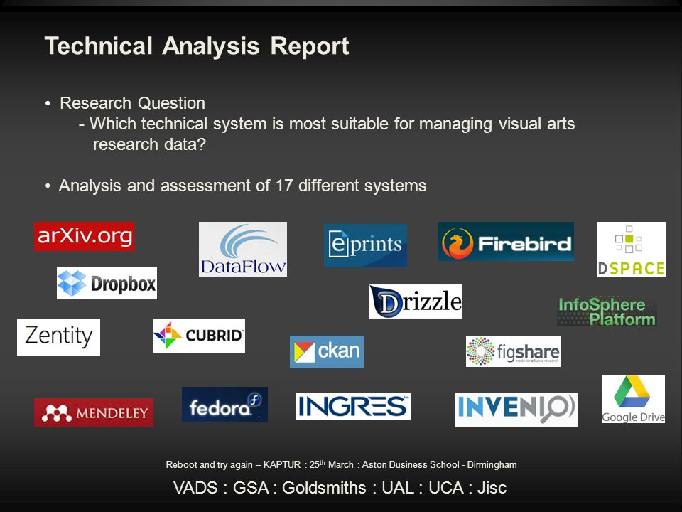 Technical Analysis Report Research Question - Which technical system is most suitable for managing visual arts research data.