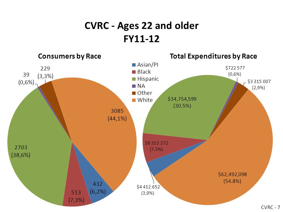 CVRC - Ages 22 and older FY11-12 Consumers by RaceTotal Expenditures by Race CVRC - 7
