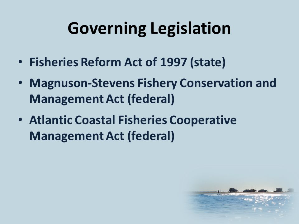 Governing Legislation Fisheries Reform Act of 1997 (state) Magnuson-Stevens Fishery Conservation and Management Act (federal) Atlantic Coastal Fisheries Cooperative Management Act (federal)