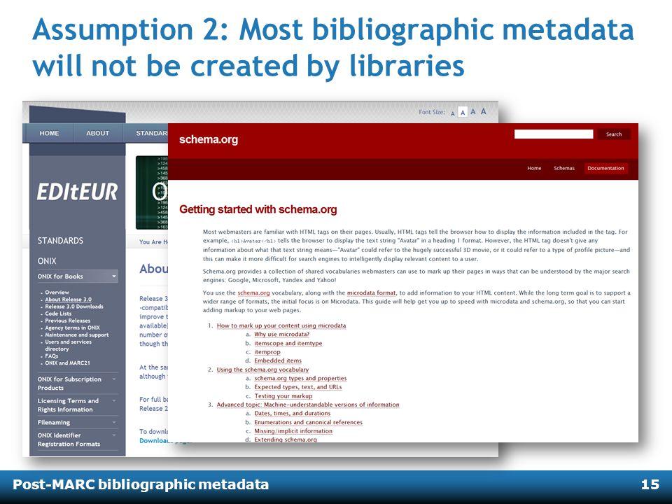 Post-MARC bibliographic metadata15 Assumption 2: Most bibliographic metadata will not be created by libraries