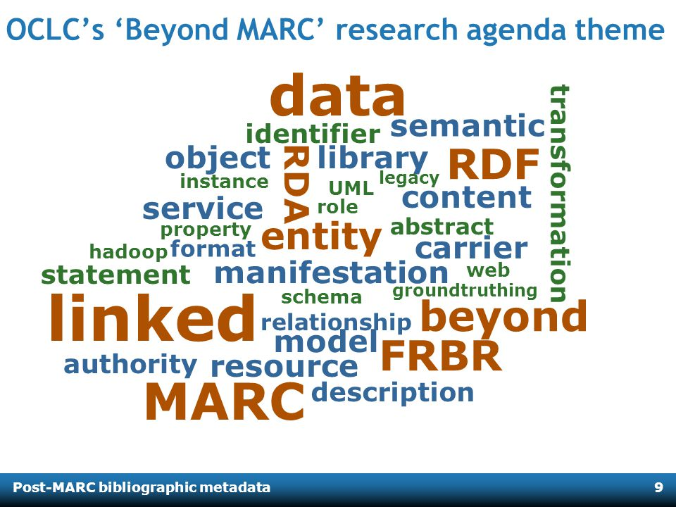 Post-MARC bibliographic metadata9 resource relationship manifestation entity object data abstract library RDA service format linked authority MARC carrier groundtruthing FRBR semantic beyond content transformation RDF instance description statement schema role hadoop property UML model identifier legacy web OCLCs Beyond MARC research agenda theme