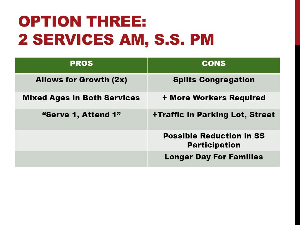 OPTION THREE: 2 SERVICES AM, S.S.