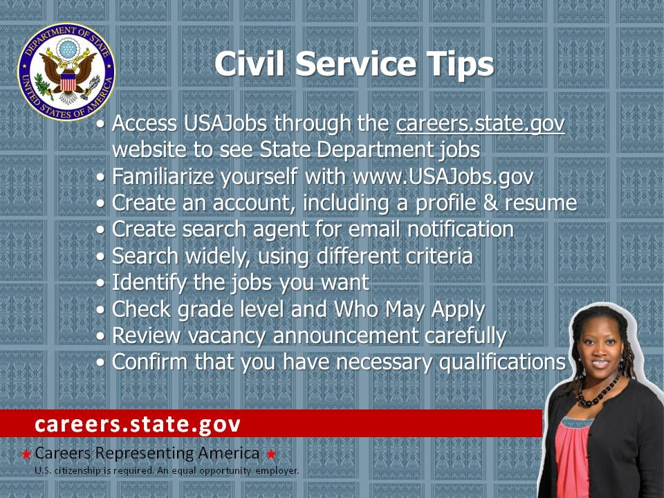 Access USAJobs through the careers.state.gov website to see State Department jobsAccess USAJobs through the careers.state.gov website to see State Dep