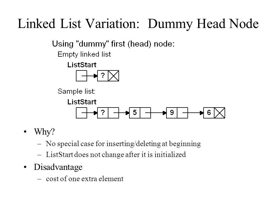 Linked List Variation: Dummy Head Node Why.