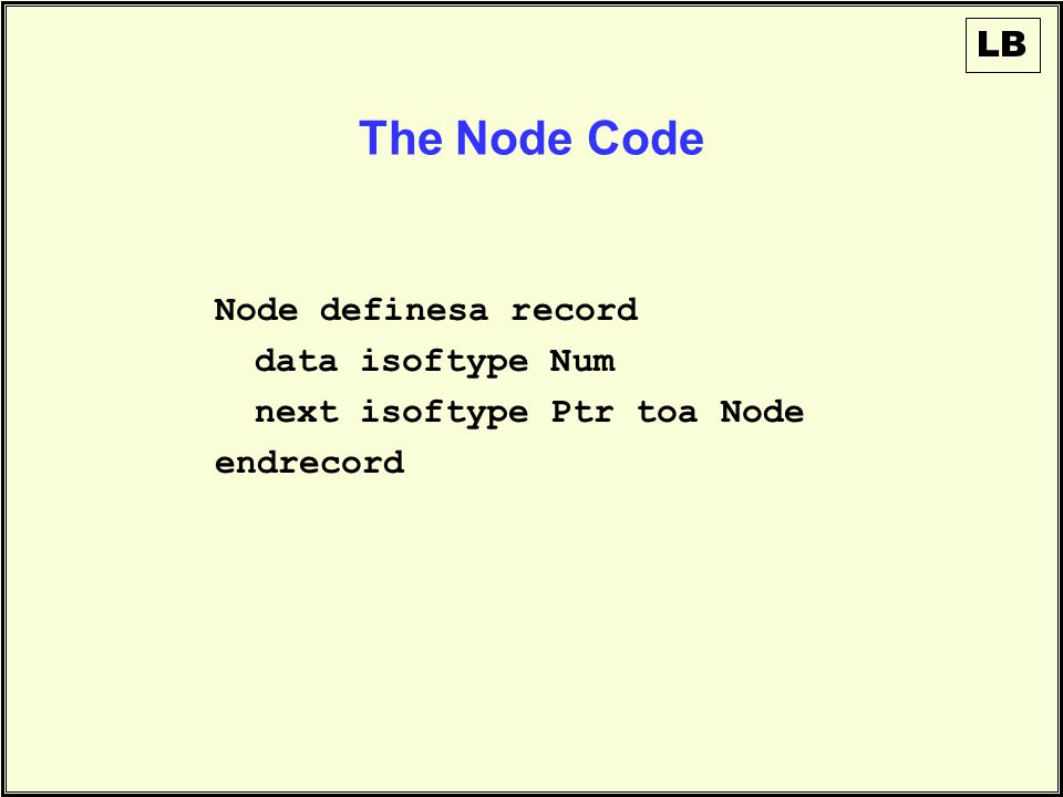 The Node Code Node definesa record data isoftype Num next isoftype Ptr toa Node endrecord LB