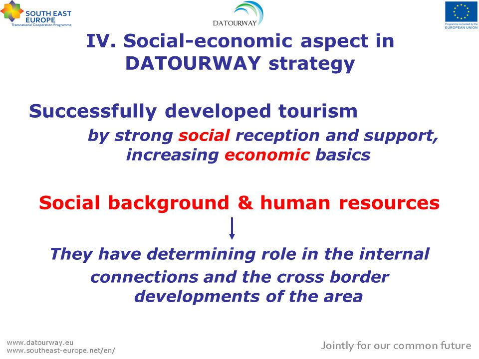 Successfully developed tourism by strong social reception and support, increasing economic basics Social background & human resources They have determining role in the internal connections and the cross border developments of the area IV.