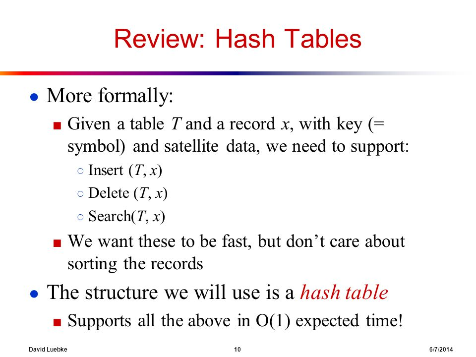 David Luebke 10 6/7/2014 Review: Hash Tables More formally: Given a table T and a record x, with key (= symbol) and satellite data, we need to support: Insert (T, x) Delete (T, x) Search(T, x) We want these to be fast, but dont care about sorting the records The structure we will use is a hash table Supports all the above in O(1) expected time!