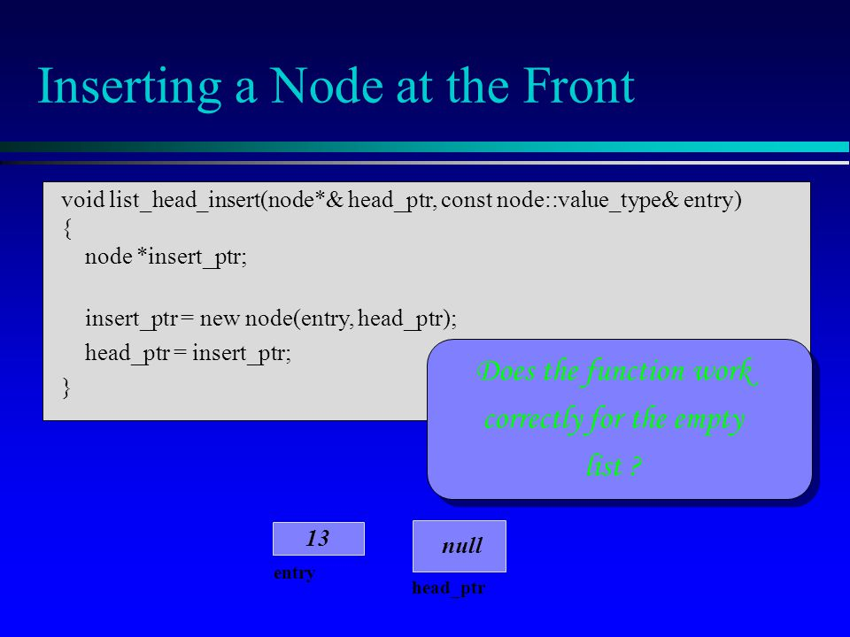 head_ptr entry 13 null Inserting a Node at the Front Does the function work correctly for the empty list ? void list_head_insert(node*& head_ptr, cons