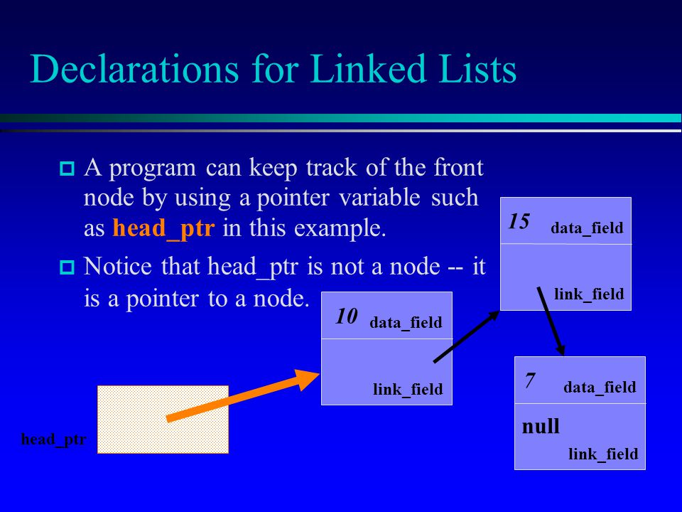 A program can keep track of the front node by using a pointer variable such as head_ptr in this example. Notice that head_ptr is not a node -- it is a