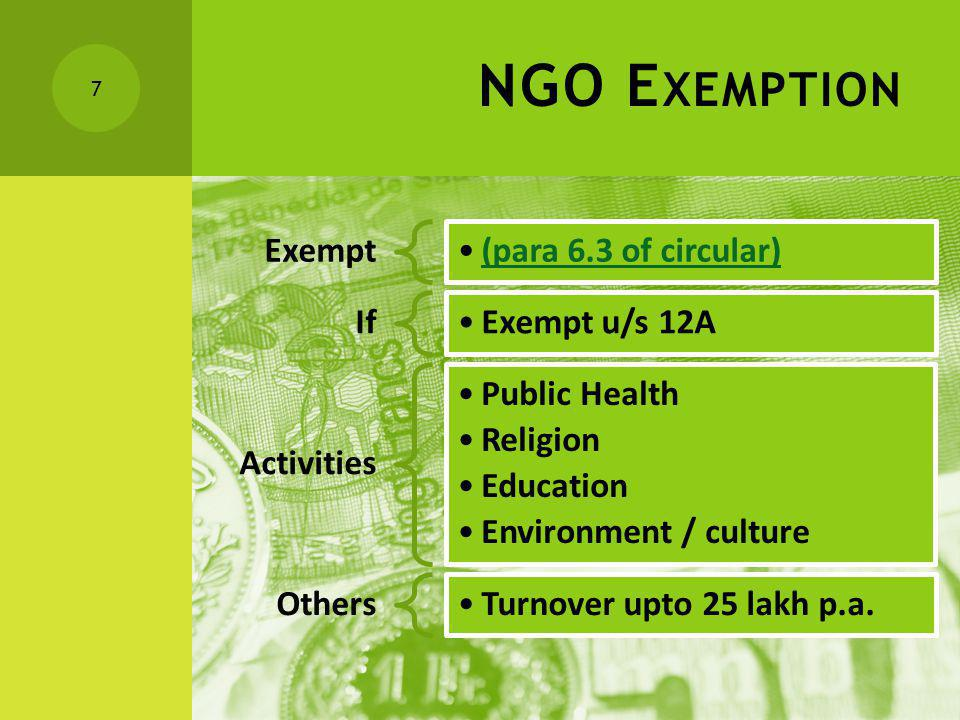NGO E XEMPTION Exempt (para 6.3 of circular) If Exempt u/s 12A Activities Public Health Religion Education Environment / culture Others Turnover upto 25 lakh p.a.