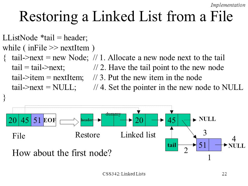CSS342: Linked Lists22 Restoring a Linked List from a File LListNode *tail = header; while ( inFile >> nextItem ) {tail->next = new Node; // 1. Alloca