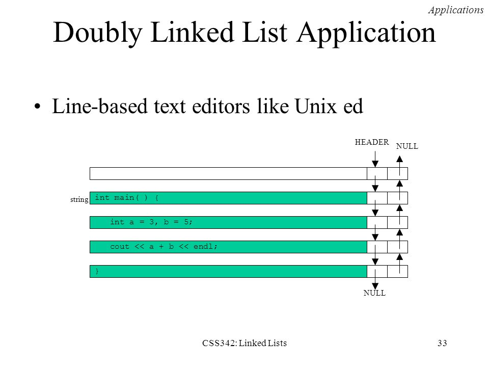 CSS342: Linked Lists33 Doubly Linked List Application Line-based text editors like Unix ed Applications int main( ) { int a = 3, b = 5; cout << a + b