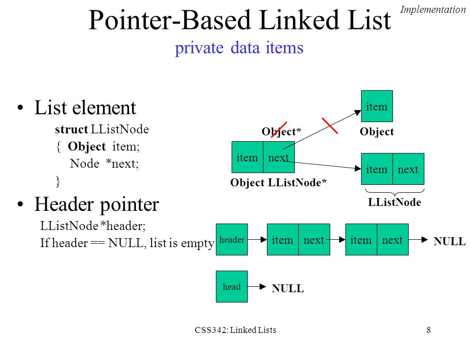CSS342: Linked Lists8 Pointer-Based Linked List private data items List element struct LListNode { Object item; Node *next; } Header pointer LListNode *header; If header == NULL, list is empty.