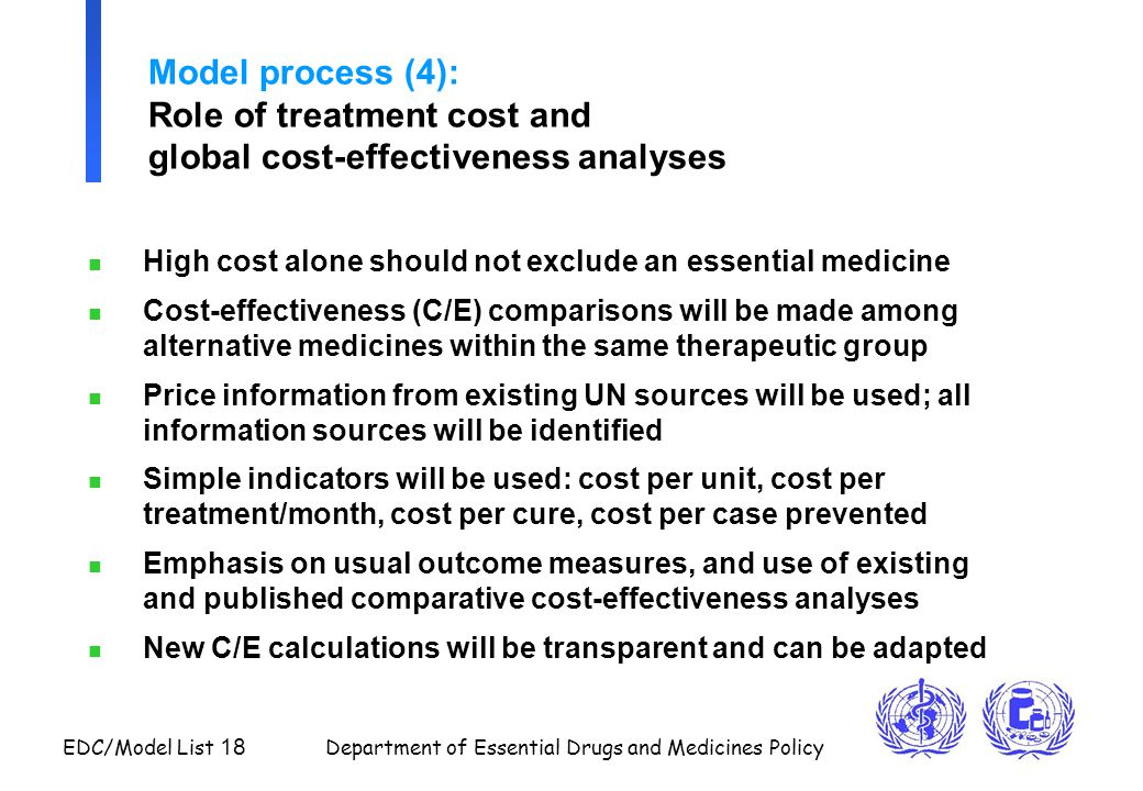 EDC/Model List 18 Department of Essential Drugs and Medicines Policy Model process (4): Role of treatment cost and global cost-effectiveness analyses