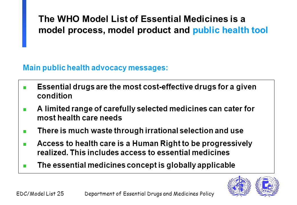 EDC/Model List 25 Department of Essential Drugs and Medicines Policy The WHO Model List of Essential Medicines is a model process, model product and p