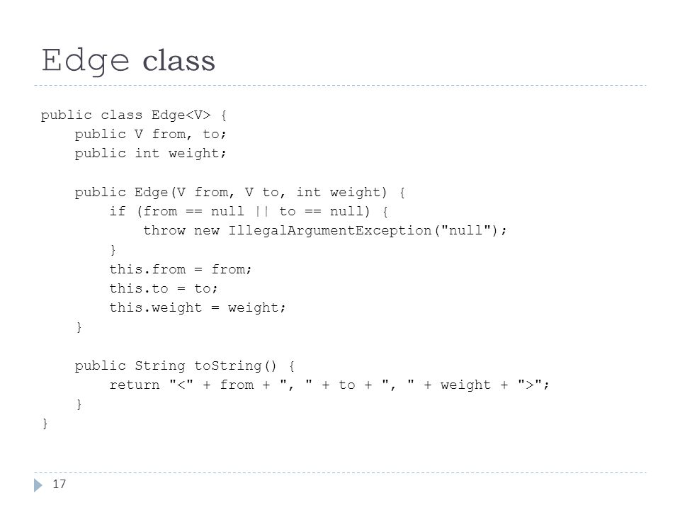Edge class 17 public class Edge { public V from, to; public int weight; public Edge(V from, V to, int weight) { if (from == null || to == null) { throw new IllegalArgumentException( null ); } this.from = from; this.to = to; this.weight = weight; } public String toString() { return ; }