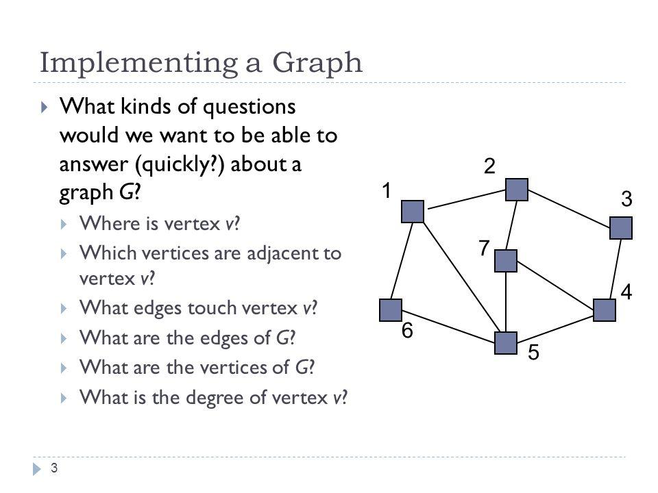 Graph Implementation Strategies Edge List Adjacency Matrix Adjacency List 4