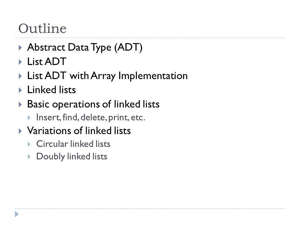Outline Abstract Data Type (ADT) List ADT List ADT with Array Implementation Linked lists Basic operations of linked lists Insert, find, delete, print